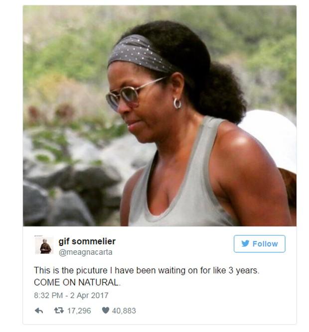 Michelle Obama surge com cabelos ao natural e causa comoção na web (Foto: Twitter / Reprodução)