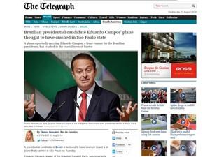 Site do Telegraph mostra reportagem sobre a morte de Eduardo Campos (Foto: Reprodução/Telegraph)
