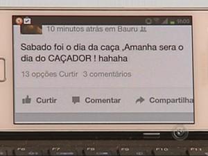 Mensagem sobre a briga foi enviada por rede social (Foto: Reprodução TV TEM)