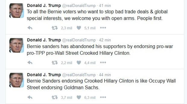 Trump ironizou apoio de Sanders à Hillary em sua conta no Twitter. (Foto: Reprodução/Twitter)