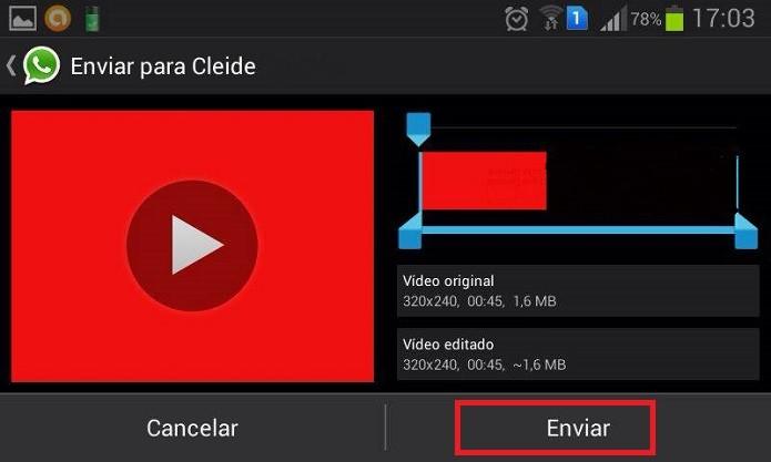 Clique em Enviar (Reprodução/Taysa Coelho)