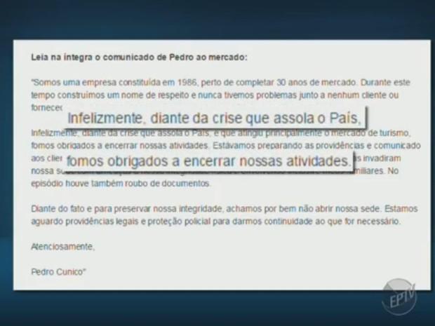 Dono diz que crise fez empresa fechar (Foto: Reprodução/ EPTV)