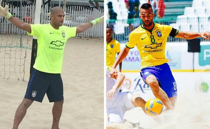 Os capixabas Mão e Bruno Xavier foram pré-convocados para a seleção brasileira de futebol de areia (Foto: Montagem/GE)