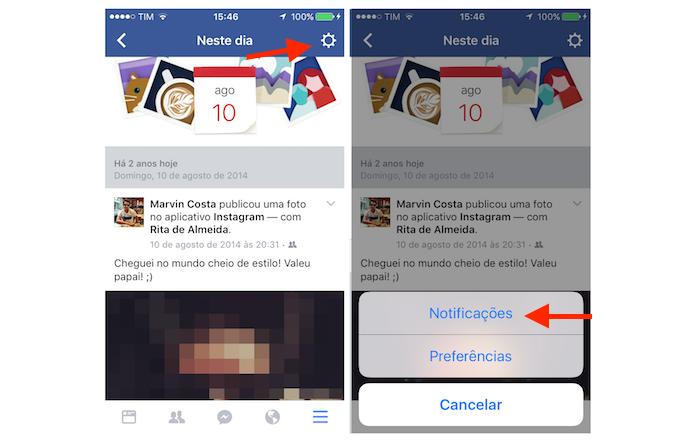 Acessando as opção para a função Neste Dia do Facebook para iPhone (Foto: Reprodução/Marvin Costa)