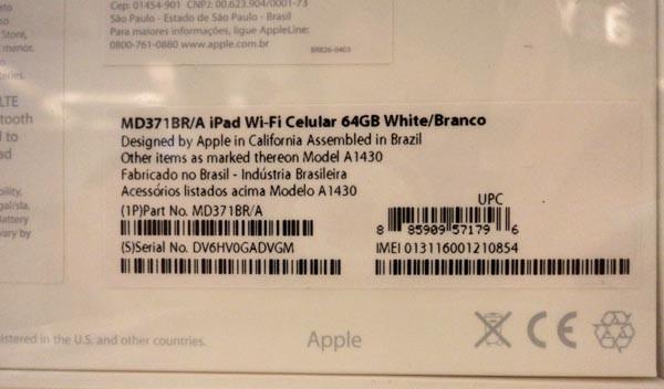 Caixa do iPad vendido na loja a2you mostra que aparelho foi fabricado no Brasil (Foto: Daniela Braun/G1)