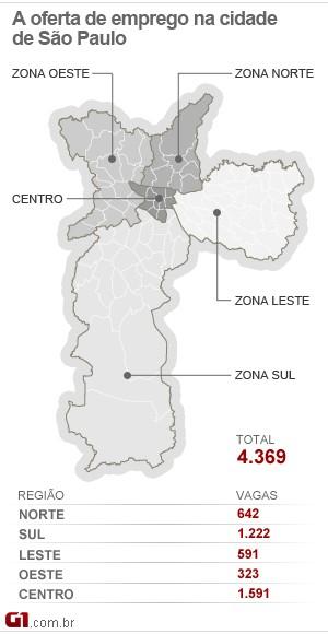 Mapa de empregos de SP 26-12 (Foto: Arte/G1)
