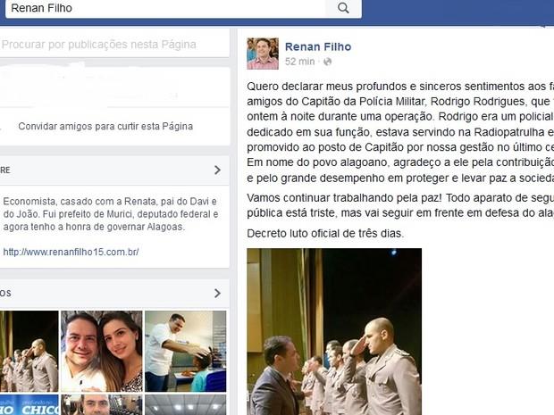Governador lamentou morte de oficial na página do Facebook (Foto: Reprodução /  Facebook)