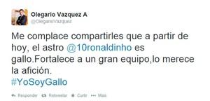 Olegario Vazquez twitter Ronaldinho (Foto: Reprodução / Twitter)