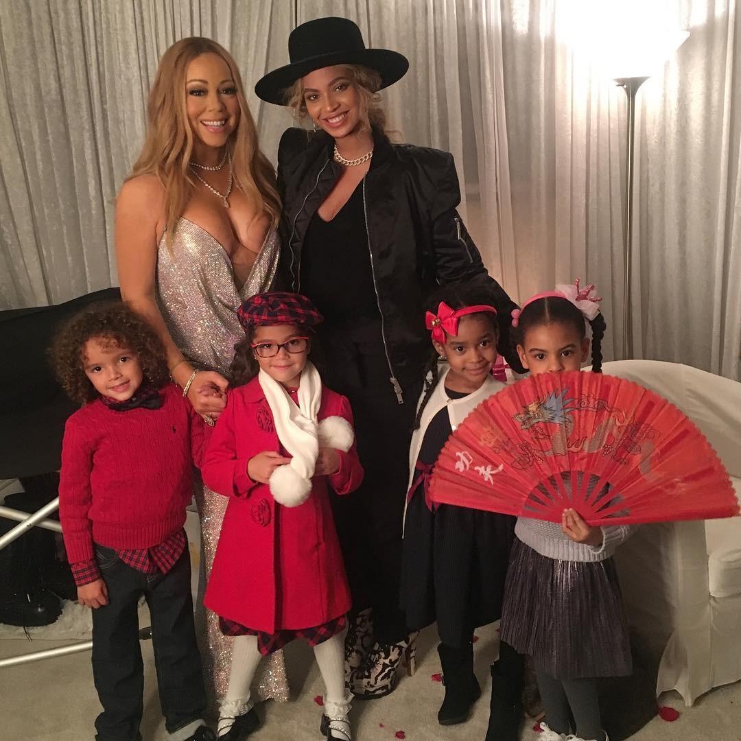 Mariah Carey com seus filhos, Moroccan e Monroe, e Beyoncé com sua Blue Ivy (Foto: Reprodução)