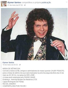 Elymar Santos divulga missa de 7º dia de Cauby Peixoto (Foto: Reprodução / Facebook)