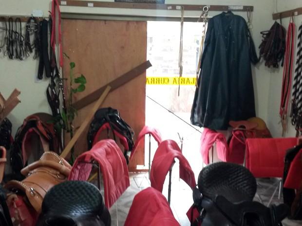 Cada sela roubada de loja de Borda da Mata custava em média R$ 700 (Foto: Daniel Campos)