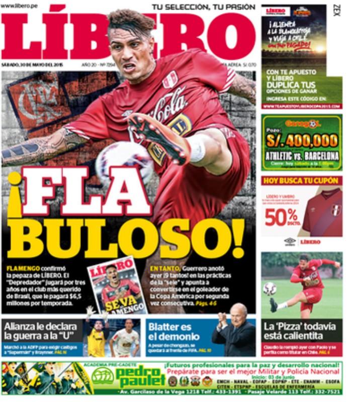 Capa, jornal Líbero, Guerrero no Flamengo