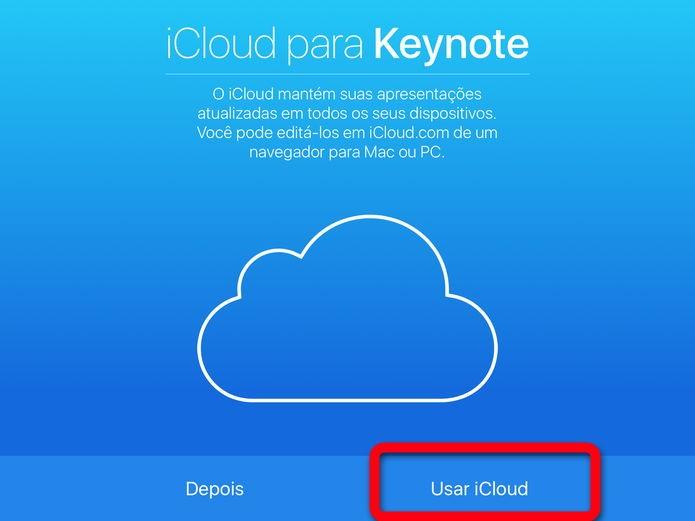 Habilitando o uso do iCloud (Foto: Felipe Alencar/TechTudo)