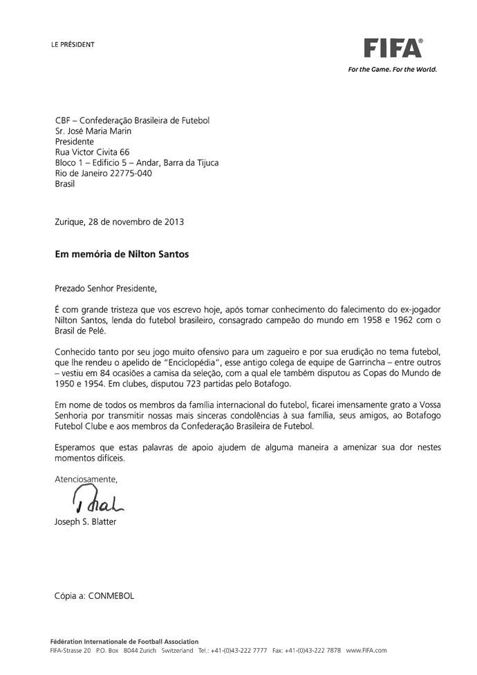 Carta do Blatter sobre Nilton santos (Foto: Reprodução)