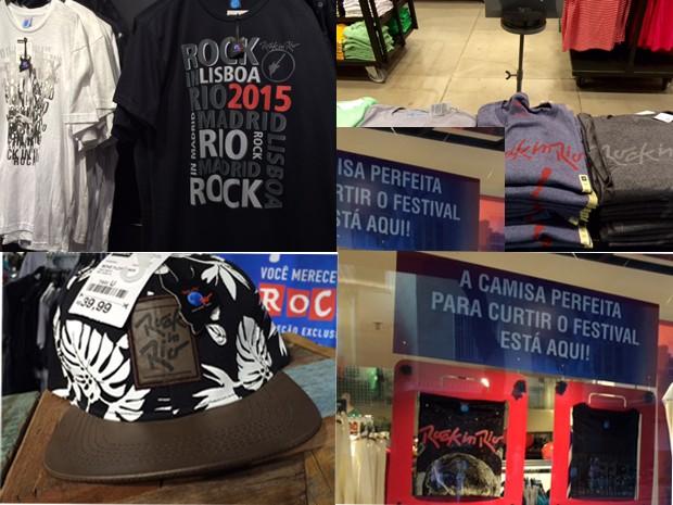 Produtos oficiais do Rock in Rio 2015 nos shoppings e lojas da cidade  (Foto: Káthia Mello/G1)