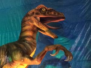 Dinossauros pré-históricos aparecem numa das viagens da águia da Portela (Foto: Alba Valéria Mendonça/ G1)