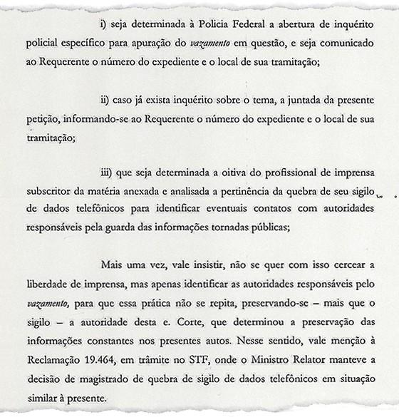Documento obtido por ÉPOCA mostra tentativa do governo Pimentel de quebrar sigilo telefônico de jornalista d'O Globo (Foto: Reprodução)