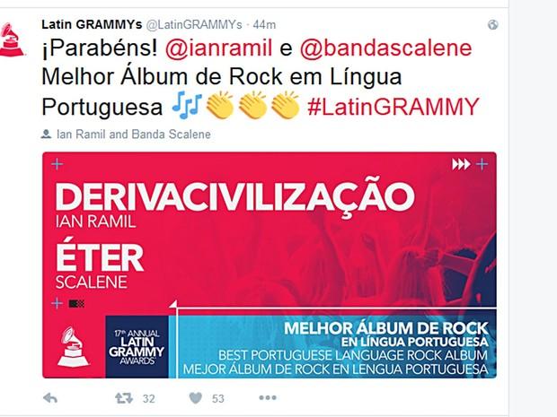 Reprodução de tweet com anúncio do prêmio de melhor álbum de rock em língua portuguesa para Scalene, por Éter, e Ian Ramil, por Derivacivilização (Foto: Twitter/Reprodução)