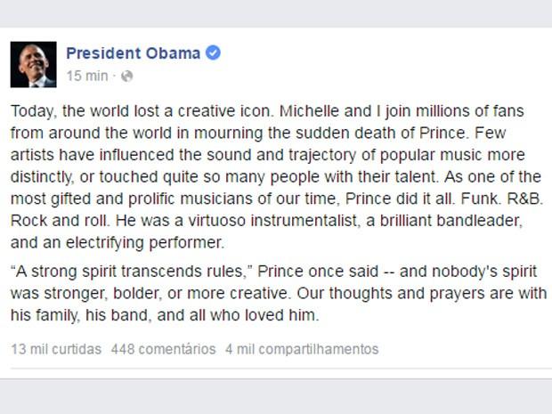 O presidente Obama homenageia Prince e comenta seu legado (Foto: Reprodução/Facebook)