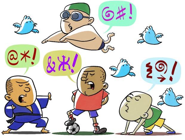 ilustração Atletas Twitter (Foto: arte esporte / cláudio roberto)