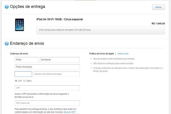 Dados para compra de produtos Apple com descontos  (Foto: Reprodução/Apple Store)