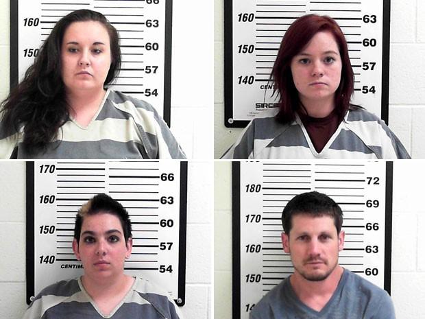 A partir da esquerda e de cima para baixo, Shelby Boyce, Krystle Morales, Lillian Scott e  Troy Manning (Foto: Davis County Sheriff's Office/AP)