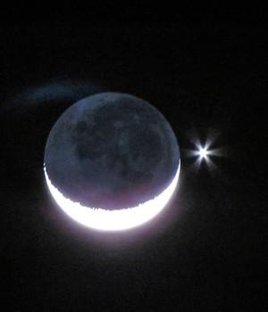 Fenômeno astronômico permite  ver planeta Vênus próximo da Lua (Régis Júnior/Vc no G1)
