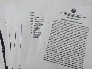 33 páginas da delação foi divulgada pelo Mistério Público (Foto: Patrícia Belo / G1)