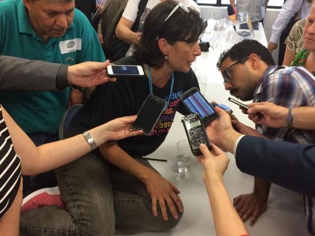 Soninha fala com jornalistas em evento que anunciou novos secretários de Doria (Foto: William Soares / G1)