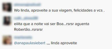 Comentários Lua de Mel Roberto Justos e esposa (Foto: Instagram / Reprodução)