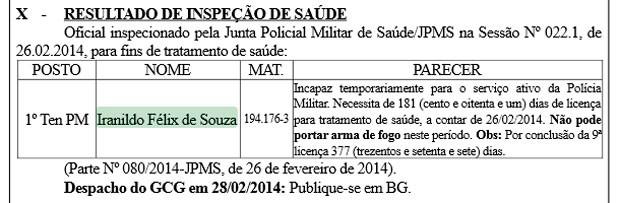 Resultado da juntá médica foi publicado no Boletim Geral da PM (Foto: Reprodução/G1)