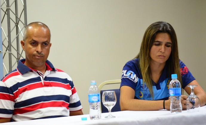 Adilson Galdino, Emily Lima, São José futebol feminino (Foto: Danilo Sardinha/GloboEsporte.com)