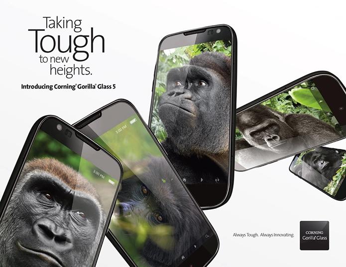 Gorilla Glass 5 deve garantir sobrevida da tela em quedas de 1,6 metros em 80% dos casos (Foto: Divulgação/Corning)