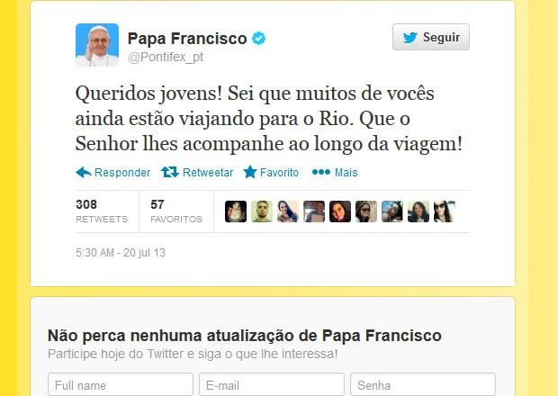 Twitter do papa (Foto: reprodução)