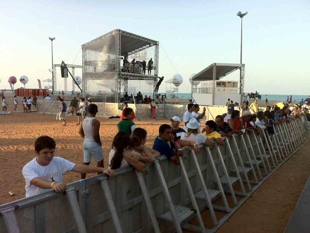 Primeiros a chegar no reveillon de Fortaleza (Foto: Diana Vasconcelos/G1)