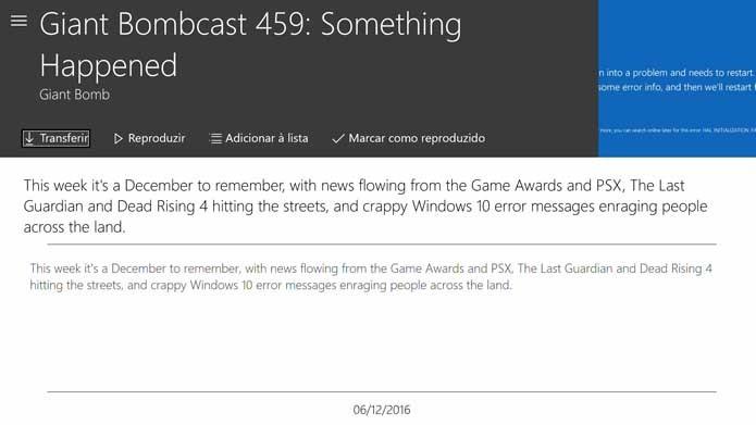 Transfira ou execute os episódios no Xbox One (Foto: Reprodução/Murilo Molina)