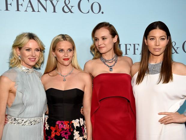 Naomi Watts, Reese Witherspoon, Diane Kruger e Jessica Biel em evento em Nova York, nos Estados Unidos (Foto: Dimitrios Kambouris/ Getty Images/ AFP)