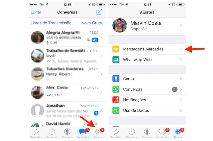 Acessando mensagens marcadas com estrela no WhatsApp para iPhone (Foto: Reprodução/Marvin Costa)