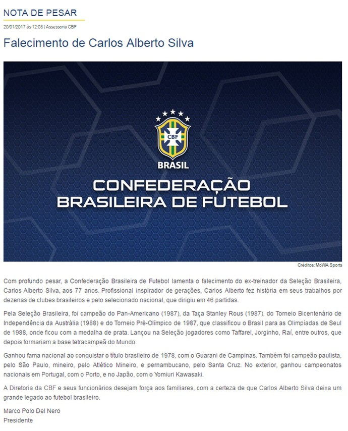 Homenagem da CBF para Carlos Alberto Silva (Foto: Site da CBF)
