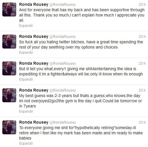 twitter da Ronda Rousey (Foto: Reprodução / Twitter)