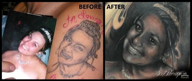 Tatuador ficou comovido e conseguiu restaurar uma das 'piores tatuagens do mundo' (Foto: Reprodução)