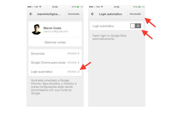Desativando o login automático de sites do Google Chrome para iOS (Foto: Marvin Costa/TechTudo)
