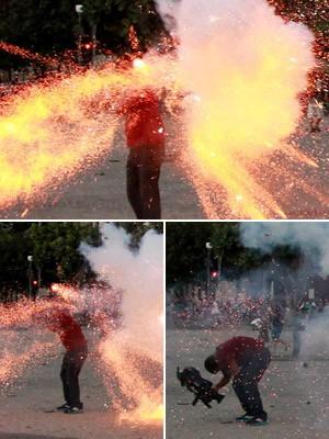 Montagem 1 - cinegrafista da Band é atingido em protesto no Rio (Foto: Agência O Globo)