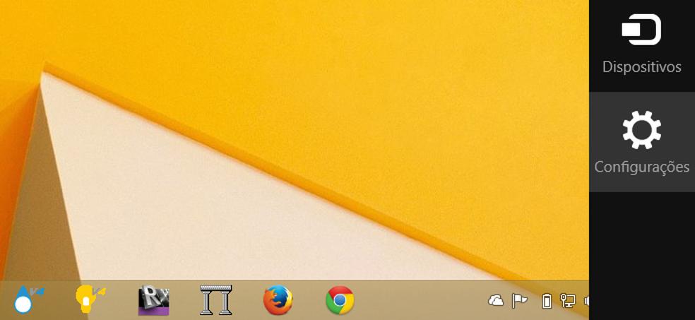Abra a Charm Bar do Windows 8.1 para achar as configurações (Foto: Reprodução/Microsoft)