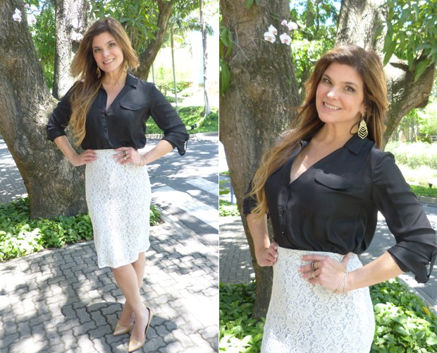 Cristiana exibe a boa forma nos bastidores do Encontro (Foto: Giuline Bastos/ TV Globo)