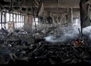 Imagens do interior do prédio mostram os andares completamente destruídos pelas chamas (Foto: Reprodução/TV Liberal)