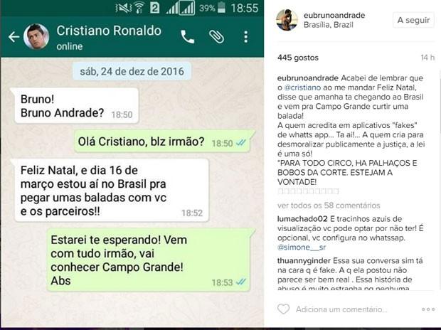 Bruno Andrade se pronuncia em rede social (Foto: Reprodução)