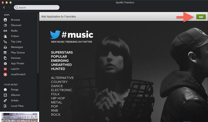 Adicionando uma extensão aos favoritos do Spotify (Foto: Reprodução/Marvin Costa)
