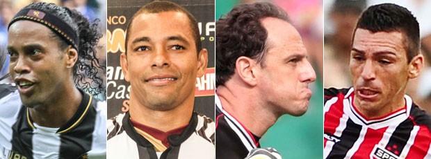 Montagem: Atlético-MG x São Paulo - Ronaldinho Gaúcho, Gilberto Silva, Rogério Ceni e Lúcio (Foto: Editoria de arte/Globoesporte.com)