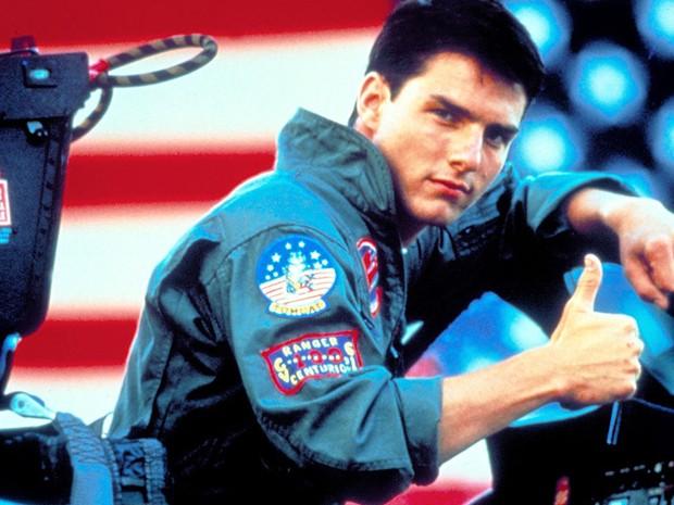 """Logo depois, viveu o personagem que o lançou ao sucesso mundial, Maverick, herói do filme """"Top gun"""", de Tony Scott, que tinha Val Kilmer e Tim Robbins no elenco (Foto: Divulgação)"""